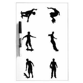 Skating skateboarder silhouettes Dry-Erase board