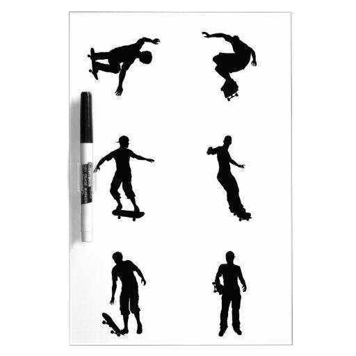Skating skateboarder silhouettes Dry-Erase whiteboard