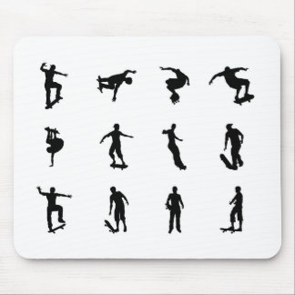 Skating skateboarder silhouettes mouse pad