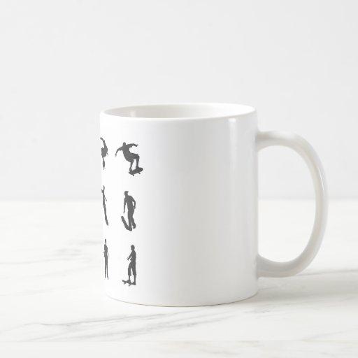 Skating skateboarder silhouettes coffee mugs