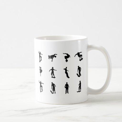 Skating skateboarder silhouettes mugs