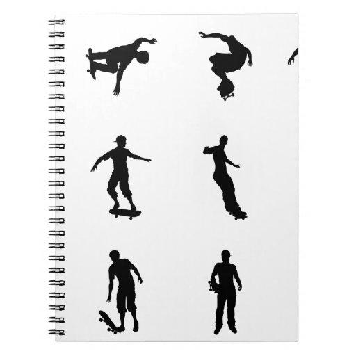 Skating skateboarder silhouettes spiral note books