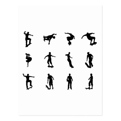 Skating skateboarder silhouettes post card