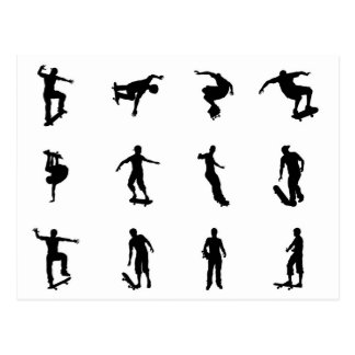 Skating skateboarder silhouettes postcards