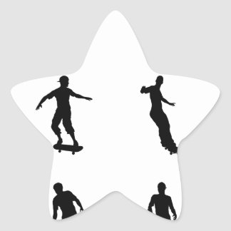 Skating skateboarder silhouettes star stickers