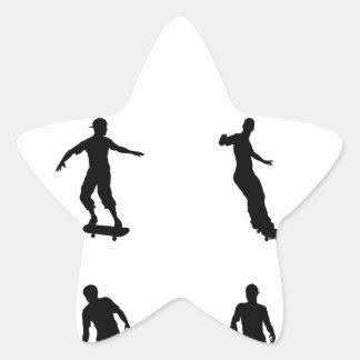 Skating skateboarder silhouettes star sticker