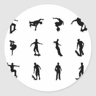 Skating skateboarder silhouettes round sticker
