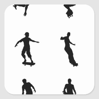 Skating skateboarder silhouettes square sticker