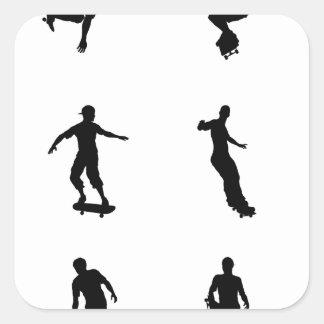Skating skateboarder silhouettes square sticker