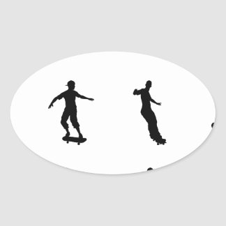 Skating skateboarder silhouettes oval sticker