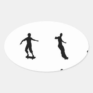Skating skateboarder silhouettes oval sticker