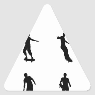 Skating skateboarder silhouettes triangle sticker
