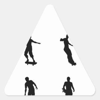Skating skateboarder silhouettes triangle sticker