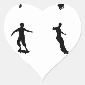 Skating skateboarder silhouettes heart sticker