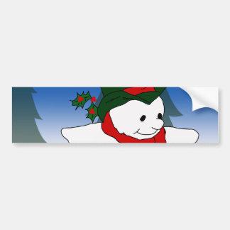 Skating Snowman Car Bumper Sticker