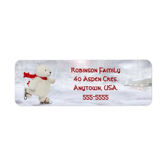 Skating Snowman Christmas Address Labels