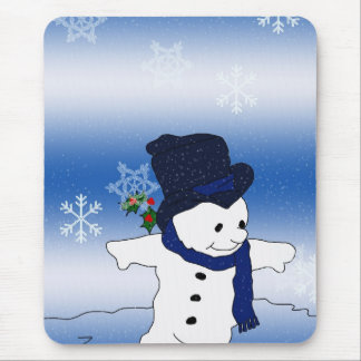 Skating Snowman in Blue Mouse Pad