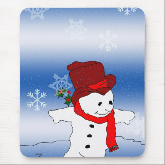 Skating Snowman in red Mouse Pad