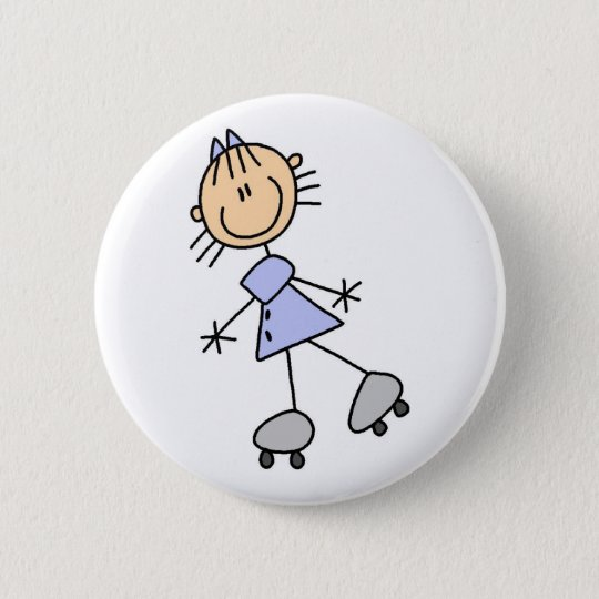 Skating Stick Girl Button
