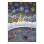 Skating Under the Starry Sky Note Card
