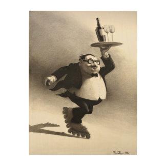 Skating Wine Waiter Wood Print