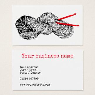 Skein of wool & crochet hooks vintage type business card
