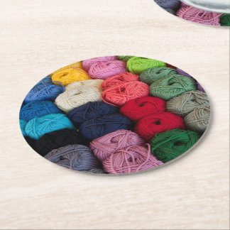 Skeins of yarn round paper coaster