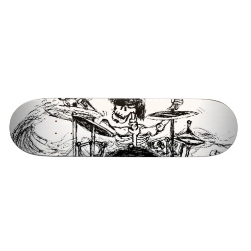 Skeletal Drummer Custom Skate Board
