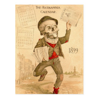 Skeletal Paperboy Postcard