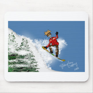 Skeletal Snow Boarder Mouse Pad