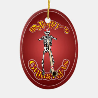 Skeleton Alphorn Personalized Christmas Ornament