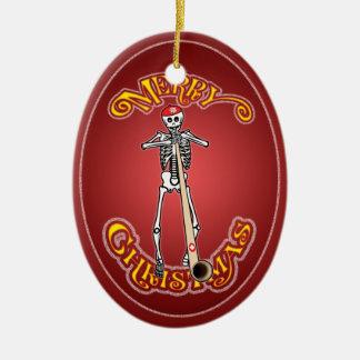 Skeleton Alphorn Player Christmas Oval Ornament