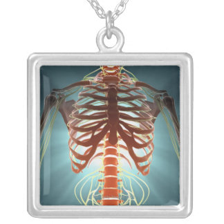Skeleton and Nerves Silver Plated Necklace