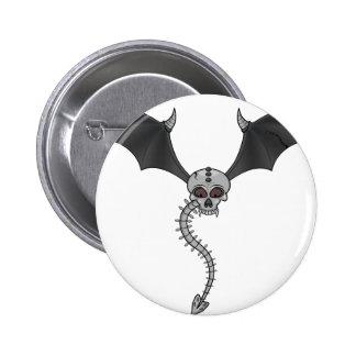 skeleton bat 6 cm round badge