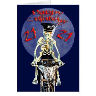 Skeleton biker 21st birthday card
