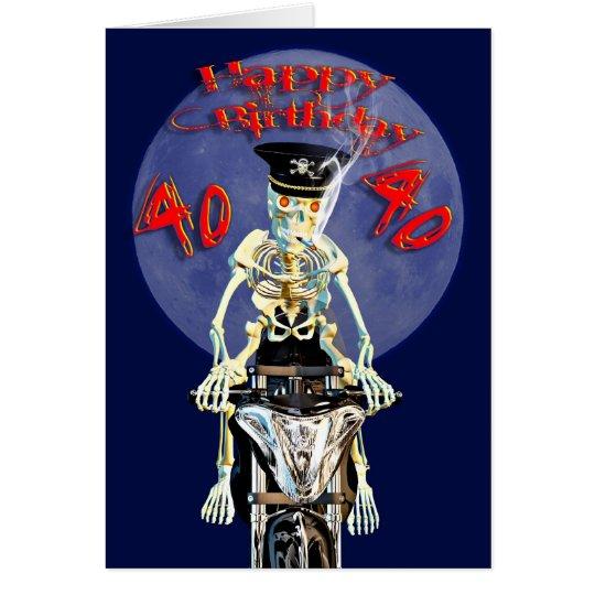 Skeleton biker 40th birthday card