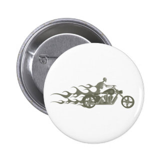 Skeleton Biker / Bike Rider: 6 Cm Round Badge