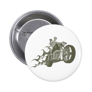 Skeleton Biker / Bike Rider: 6 Cm Round Badge