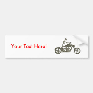 Skeleton Biker / Bike Rider: Halftone Style: Bumper Sticker