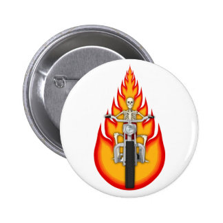 Skeleton Biker & Flames: 6 Cm Round Badge