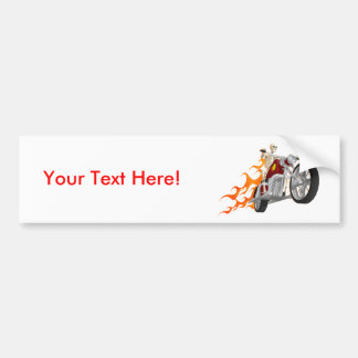 Skeleton Biker & Flames: Bumper Sticker