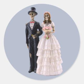 Skeleton bride and groom stickers