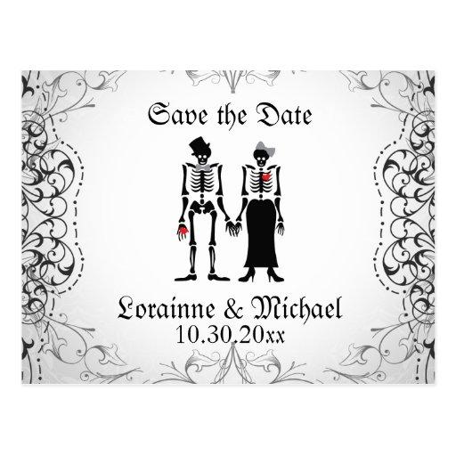 Skeleton Bride & Groom Save the Date Postcards