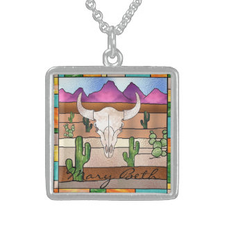 Skeleton Bull Personalized Sterling  Necklace