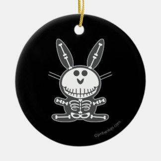 Skeleton Bunny Round Ceramic Decoration