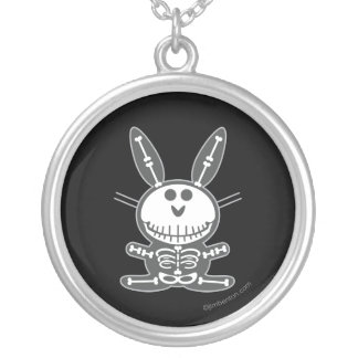 Skeleton Bunny Silver Plated Necklace