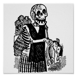 """""""Skeleton carrying Fish"""" circa early 1900's Mexico Poster"""