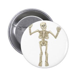 Skeleton Cartoon Waving Hands 6 Cm Round Badge