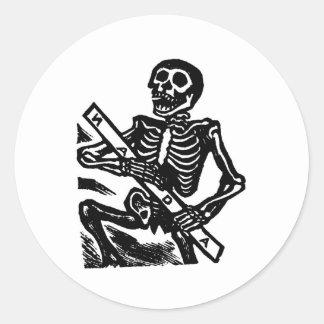 Skeleton, circa 1951 Mexico. Round Sticker