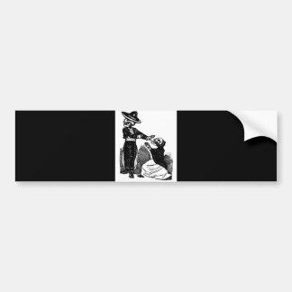 Skeleton Couple Fighting c. 1900s Mexico Bumper Sticker